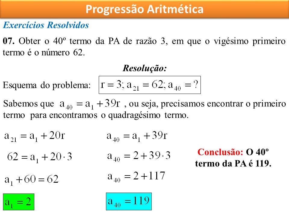 Progressão Aritmética Exercícios Resolvidos 07.