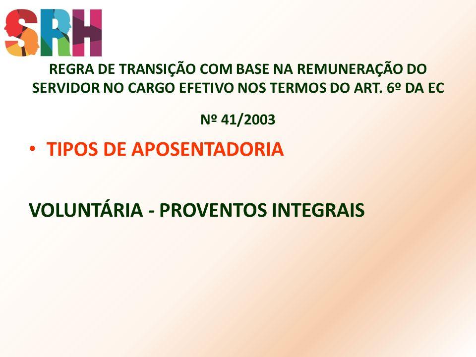 REGRA DE TRANSIÇÃO COM BASE NA REMUNERAÇÃO DO SERVIDOR NO CARGO EFETIVO NOS TERMOS DO ART. 6º DA EC Nº 41/2003 TIPOS DE APOSENTADORIA VOLUNTÁRIA - PRO