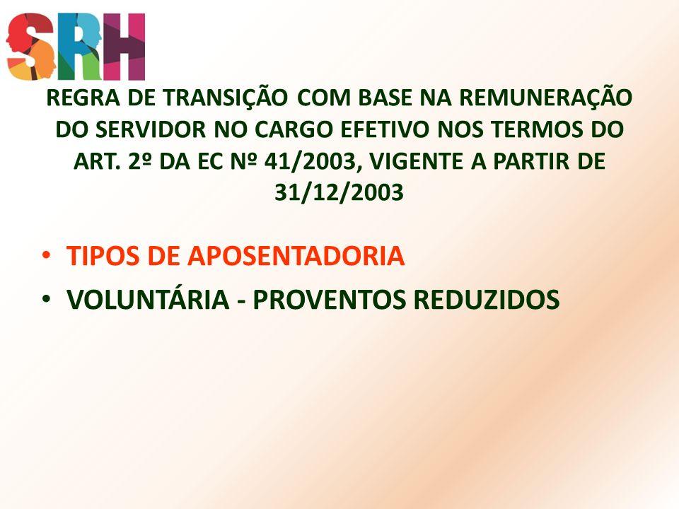 REGRA DE TRANSIÇÃO COM BASE NA REMUNERAÇÃO DO SERVIDOR NO CARGO EFETIVO NOS TERMOS DO ART. 2º DA EC Nº 41/2003, VIGENTE A PARTIR DE 31/12/2003 TIPOS D