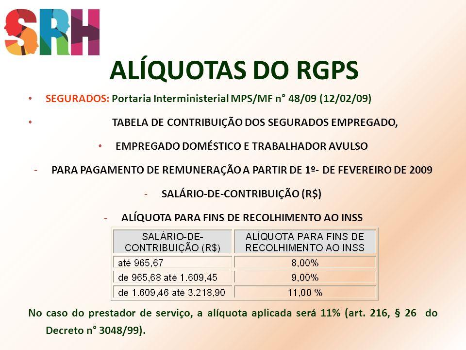 ALÍQUOTAS DO RGPS SEGURADOS: Portaria Interministerial MPS/MF n° 48/09 (12/02/09) TABELA DE CONTRIBUIÇÃO DOS SEGURADOS EMPREGADO, EMPREGADO DOMÉSTICO