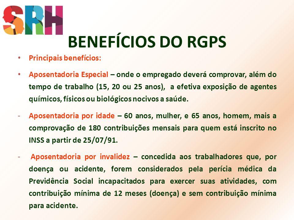 BENEFÍCIOS DO RGPS Principais benefícios: Aposentadoria Especial – onde o empregado deverá comprovar, além do tempo de trabalho (15, 20 ou 25 anos), a