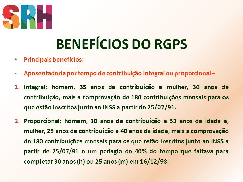 BENEFÍCIOS DO RGPS Principais benefícios: -Aposentadoria por tempo de contribuição integral ou proporcional – 1.Integral: homem, 35 anos de contribuiç