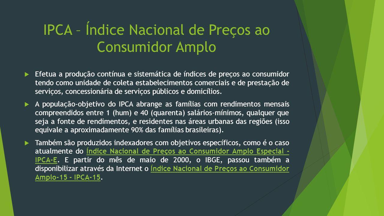 IPCA – Índice Nacional de Preços ao Consumidor Amplo Efetua a produção contínua e sistemática de índices de preços ao consumidor tendo como unidade de