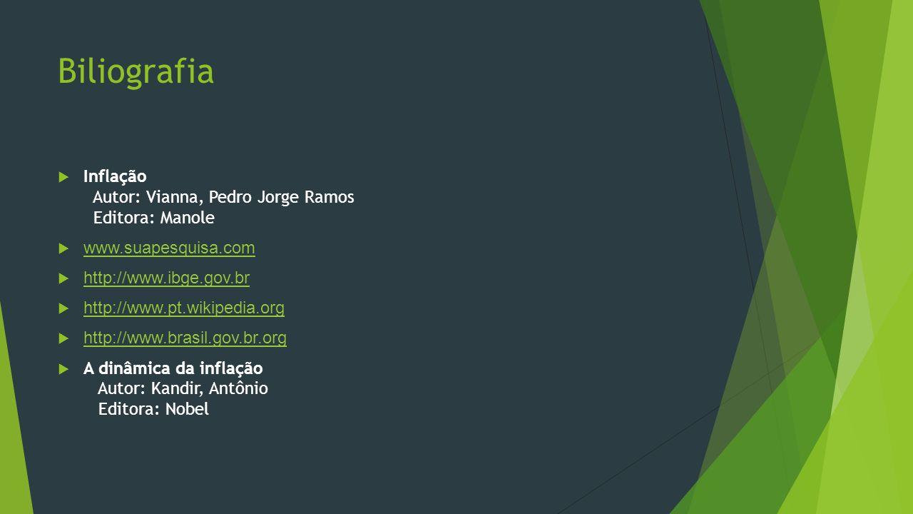 Biliografia Inflação Autor: Vianna, Pedro Jorge Ramos Editora: Manole www.suapesquisa.com http://www.ibge.gov.br http://www.pt.wikipedia.org http://ww