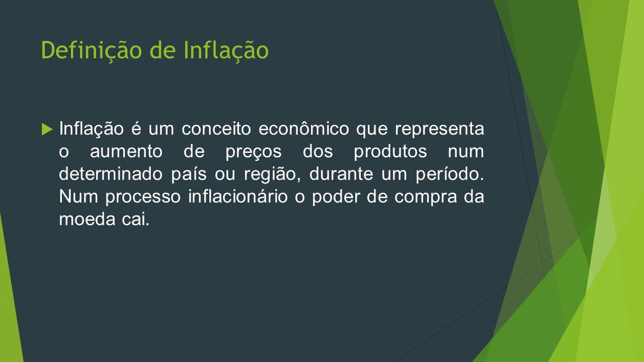 Definição de Inflação Inflação é um conceito econômico que representa o aumento de preços dos produtos num determinado país ou região, durante um perí
