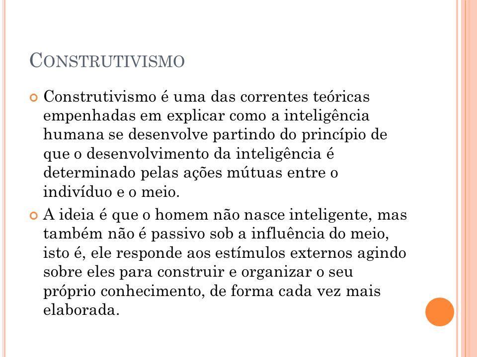 C ONSTRUTIVISMO Construtivismo é uma das correntes teóricas empenhadas em explicar como a inteligência humana se desenvolve partindo do princípio de q