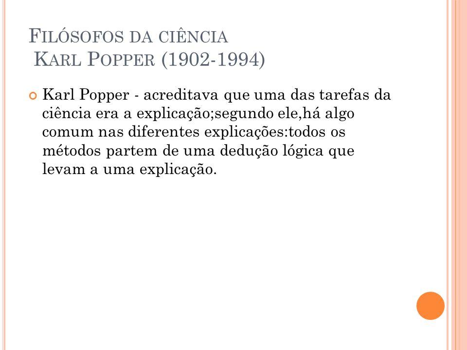 F ILÓSOFOS DA CIÊNCIA K ARL P OPPER (1902-1994) Karl Popper - acreditava que uma das tarefas da ciência era a explicação;segundo ele,há algo comum nas