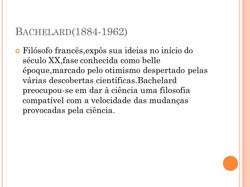 B ACHELARD (1884-1962) Filósofo francês,expôs sua ideias no início do século XX,fase conhecida como belle époque,marcado pelo otimismo despertado pela