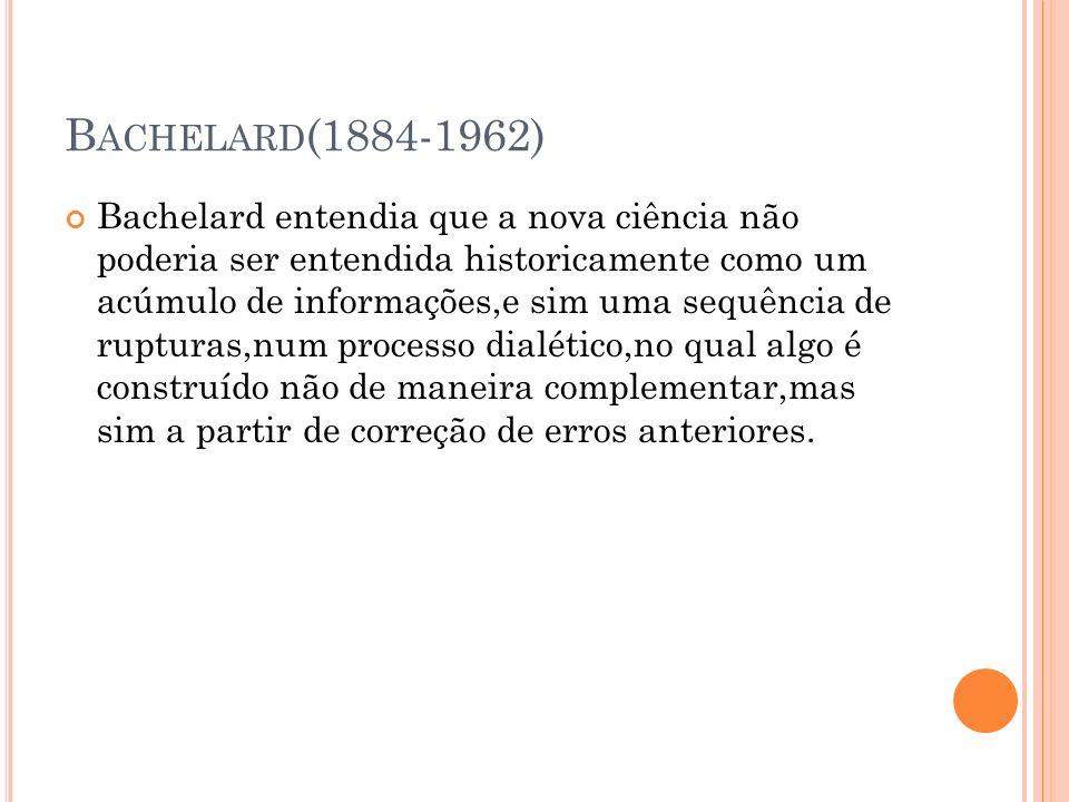 B ACHELARD (1884-1962) Bachelard entendia que a nova ciência não poderia ser entendida historicamente como um acúmulo de informações,e sim uma sequênc