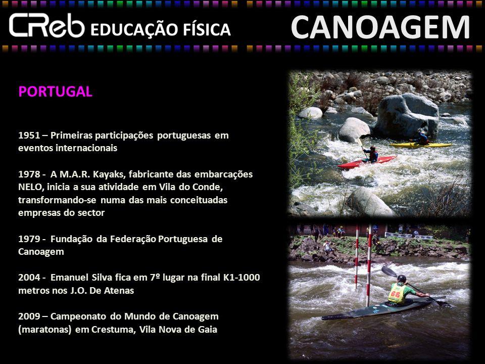 CANOAGEM PORTUGAL 1951 – Primeiras participações portuguesas em eventos internacionais 1978 - A M.A.R. Kayaks, fabricante das embarcações NELO, inicia