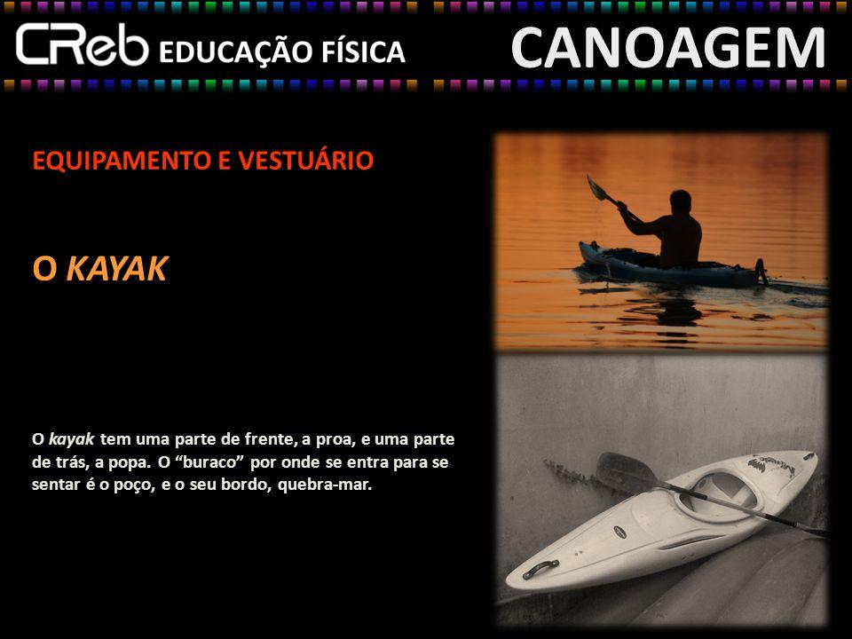 CANOAGEM EQUIPAMENTO E VESTUÁRIO O KAYAK O kayak tem uma parte de frente, a proa, e uma parte de trás, a popa. O buraco por onde se entra para se sent
