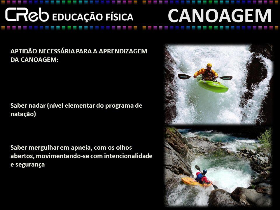 CANOAGEM APTIDÃO NECESSÁRIA PARA A APRENDIZAGEM DA CANOAGEM: Saber nadar (nível elementar do programa de natação) Saber mergulhar em apneia, com os ol
