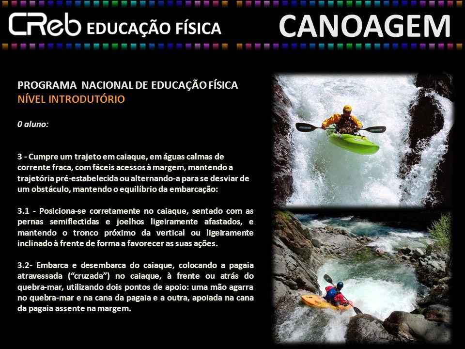 CANOAGEM PROGRAMA NACIONAL DE EDUCAÇÃO FÍSICA NÍVEL INTRODUTÓRIO 0 aluno: 3 - Cumpre um trajeto em caiaque, em águas calmas de corrente fraca, com fác