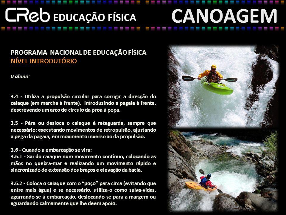CANOAGEM PROGRAMA NACIONAL DE EDUCAÇÃO FÍSICA NÍVEL INTRODUTÓRIO 0 aluno: 3.4 - Utiliza a propulsão circular para corrigir a direcção do caiaque (em m