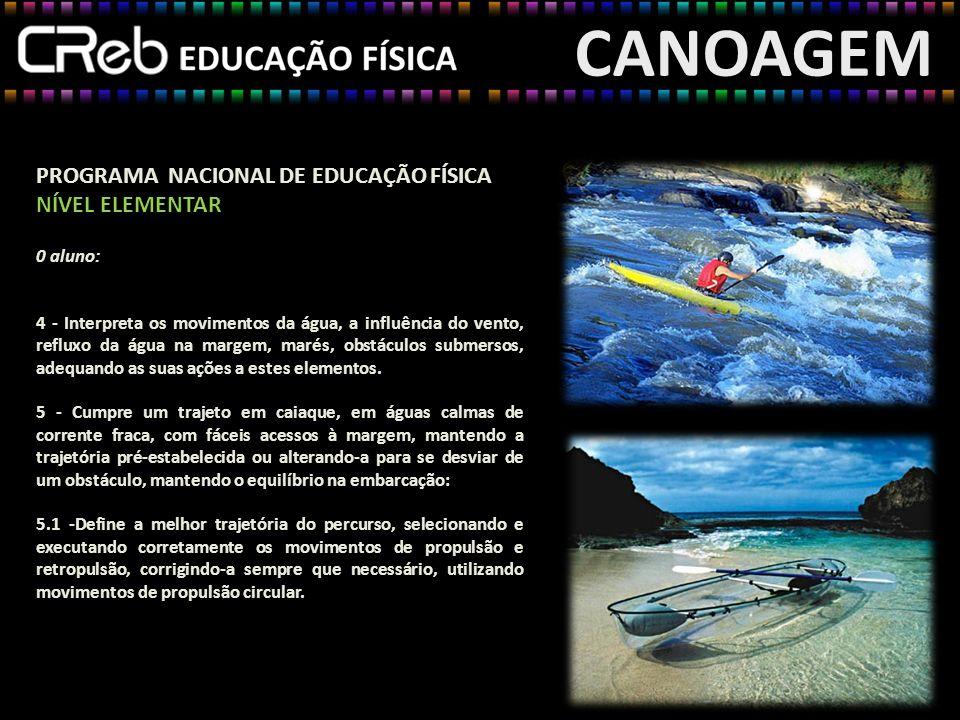 CANOAGEM PROGRAMA NACIONAL DE EDUCAÇÃO FÍSICA NÍVEL ELEMENTAR 0 aluno: 4 - Interpreta os movimentos da água, a influência do vento, refluxo da água na