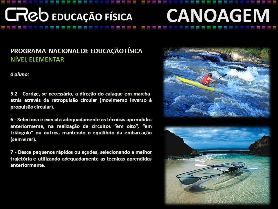 CANOAGEM PROGRAMA NACIONAL DE EDUCAÇÃO FÍSICA NÍVEL ELEMENTAR 0 aluno: 5.2 - Corrige, se necessário, a direção do caiaque em marcha- atrás através da