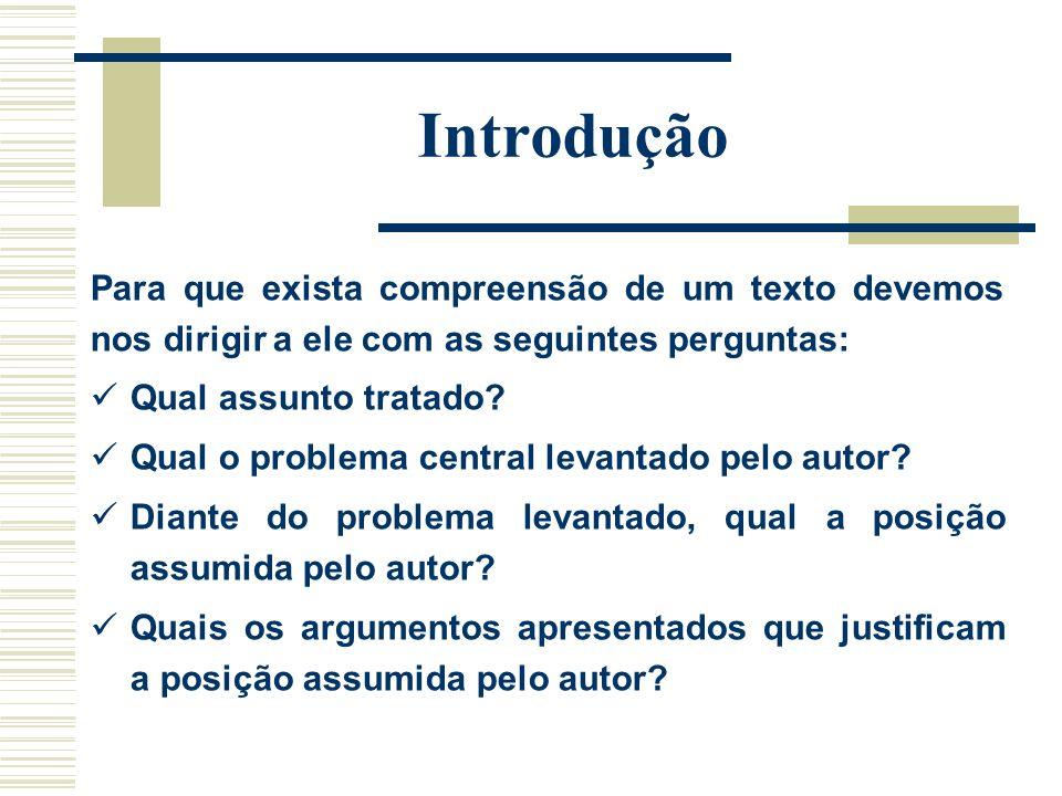 Introdução Para que exista compreensão de um texto devemos nos dirigir a ele com as seguintes perguntas: Qual assunto tratado? Qual o problema central