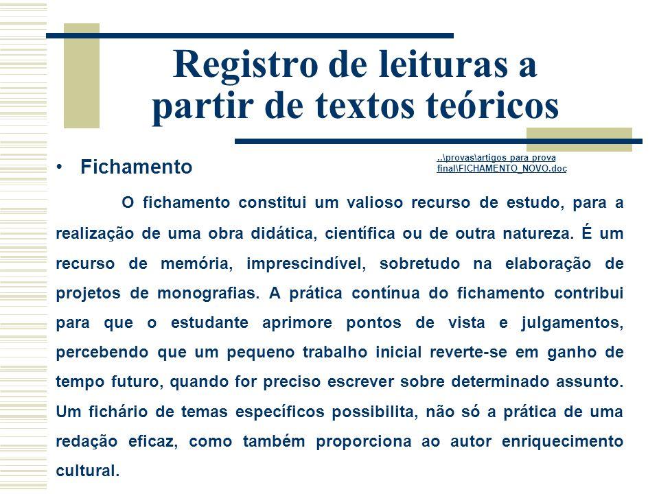 Registro de leituras a partir de textos teóricos Fichamento O fichamento constitui um valioso recurso de estudo, para a realização de uma obra didática, científica ou de outra natureza.