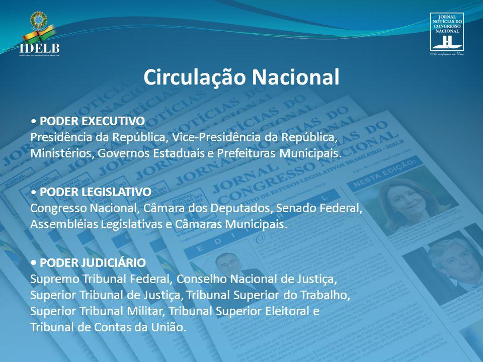PODER EXECUTIVO Presidência da República, Vice-Presidência da República, Ministérios, Governos Estaduais e Prefeituras Municipais.