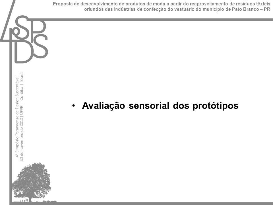 Avaliação sensorial dos protótipos Proposta de desenvolvimento de produtos de moda a partir do reaproveitamento de resíduos têxteis oriundos das indústrias de confecção do vestuário do município de Pato Branco – PR