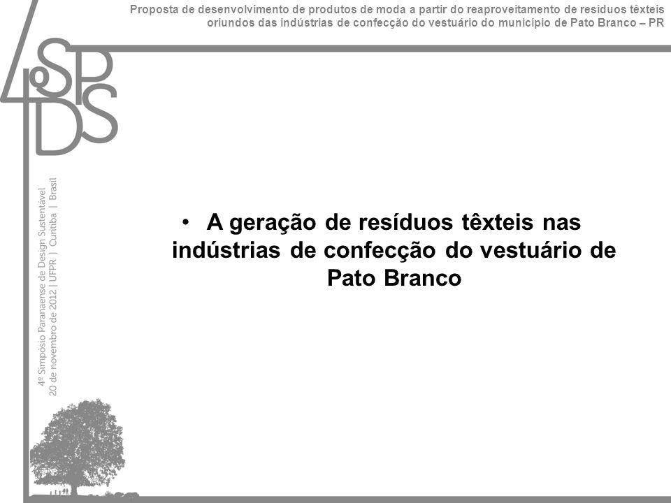 A produção mensal das empresas de Pato Branco, varia entre 130 e 26000 peças, de acordo com o segmento de mercado trabalhado.