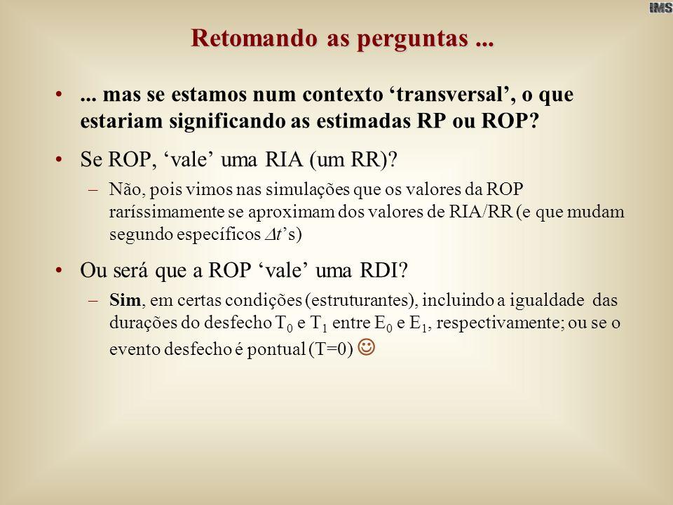 Retomando as perguntas...... mas se estamos num contexto transversal, o que estariam significando as estimadas RP ou ROP? Se ROP, vale uma RIA (um RR)