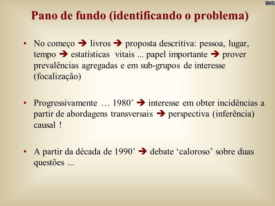 Pano de fundo (identificando o problema) A partir da década de 1990 debate caloroso sobre duas questões –Que medida seria apropriada para captar contraste entre grupos de exposição Razão de Prevalência (RP) ou Razão de Odds de Prevalência (ROP).