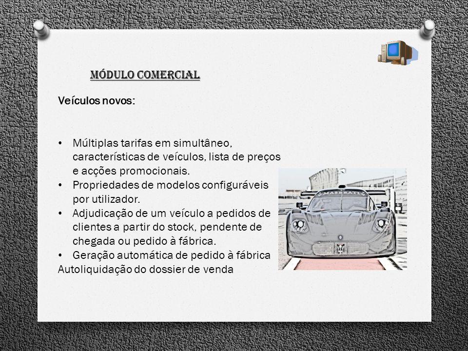 Módulo Comercial Veículos novos: Múltiplas tarifas em simultâneo, características de veículos, lista de preços e acções promocionais. Propriedades de