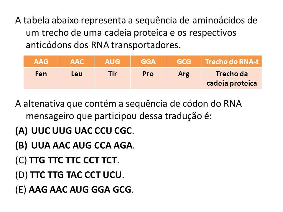 A tabela abaixo representa a sequência de aminoácidos de um trecho de uma cadeia proteica e os respectivos anticódons dos RNA transportadores.