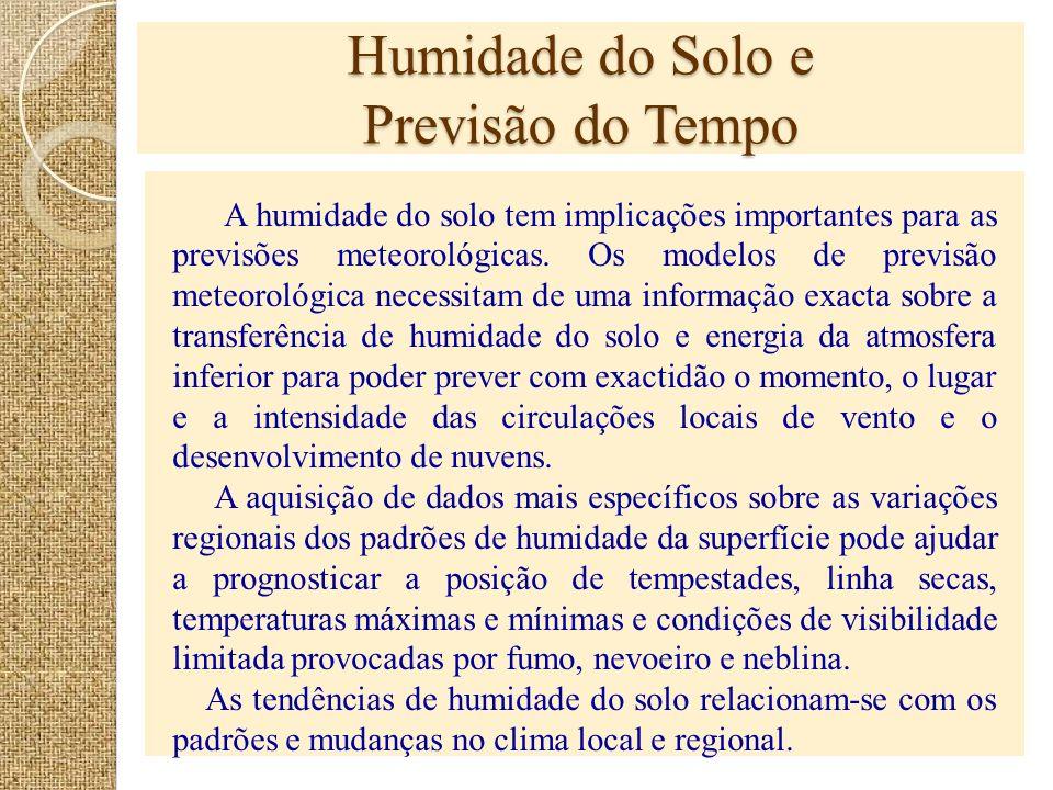 Humidade do Solo e Previsão do Tempo A humidade do solo tem implicações importantes para as previsões meteorológicas. Os modelos de previsão meteoroló