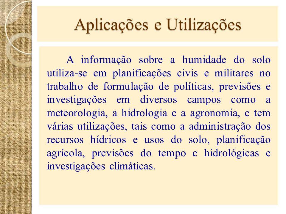Aplicações e Utilizações A informação sobre a humidade do solo utiliza-se em planificações civis e militares no trabalho de formulação de políticas, p