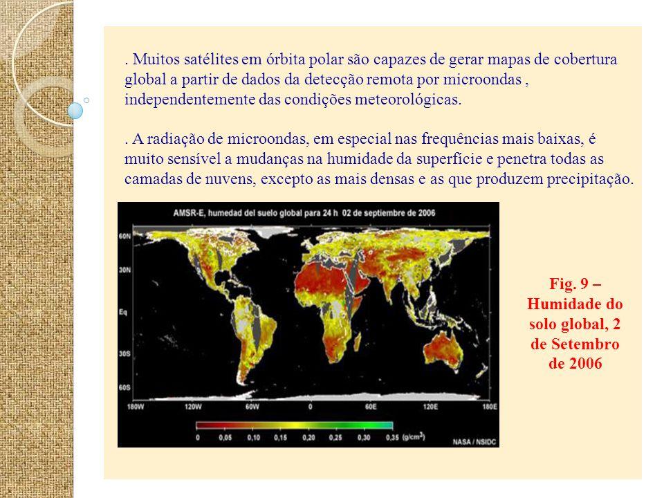 Fig. 9 – Humidade do solo global, 2 de Setembro de 2006. Muitos satélites em órbita polar são capazes de gerar mapas de cobertura global a partir de d