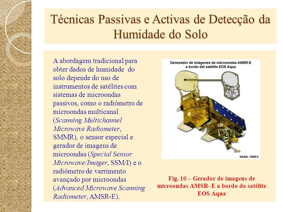 Técnicas Passivas e Activas de Detecção da Humidade do Solo Fig. 10 – Gerador de imagens de microondas AMSR–E a bordo do satélite EOS Aqua A abordagem