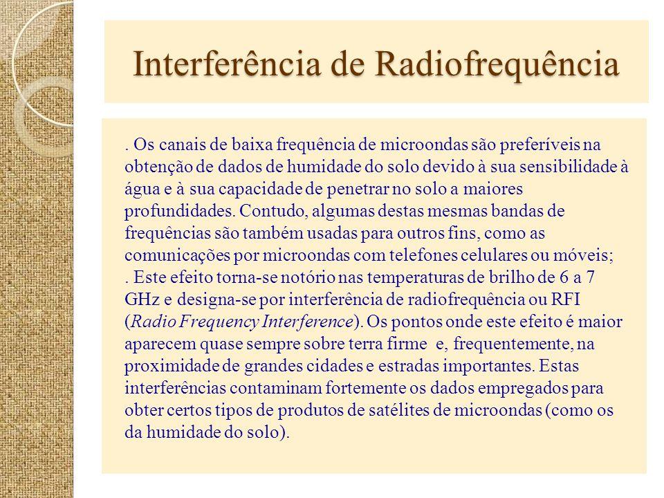 Interferência de Radiofrequência. Os canais de baixa frequência de microondas são preferíveis na obtenção de dados de humidade do solo devido à sua se