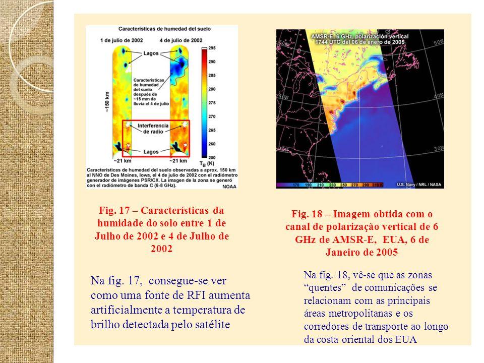 Fig. 17 – Características da humidade do solo entre 1 de Julho de 2002 e 4 de Julho de 2002 Na fig. 17, consegue-se ver como uma fonte de RFI aumenta