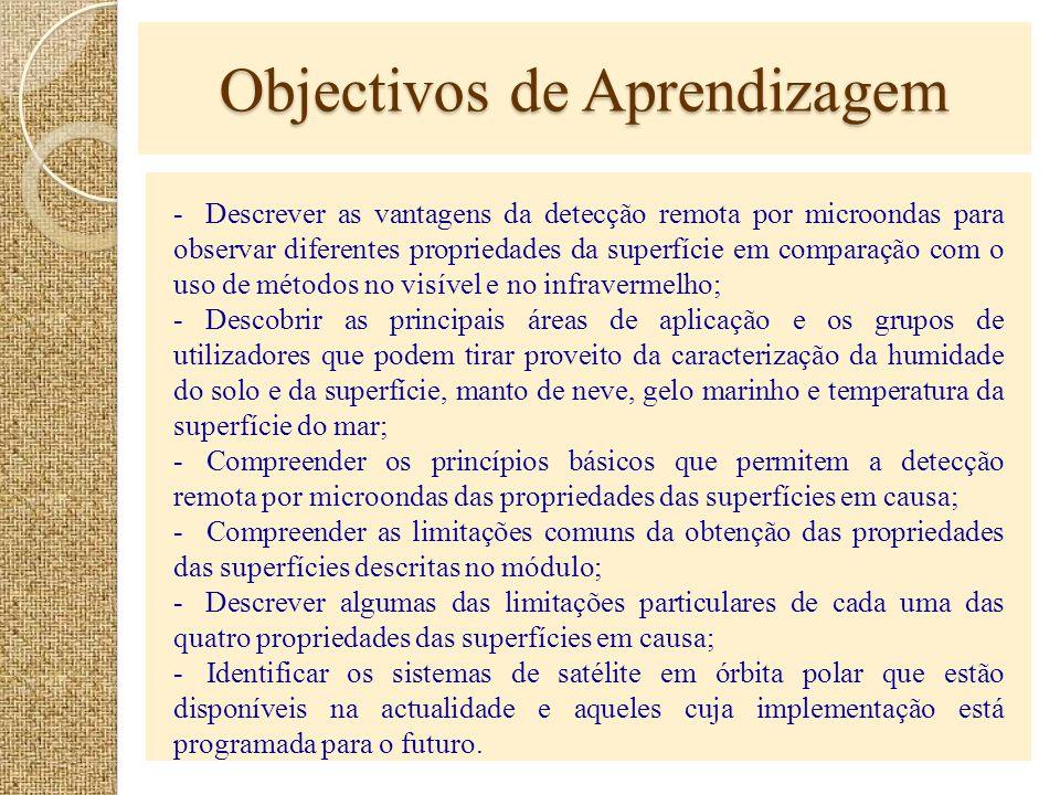 Objectivos de Aprendizagem - Descrever as vantagens da detecção remota por microondas para observar diferentes propriedades da superfície em comparaçã