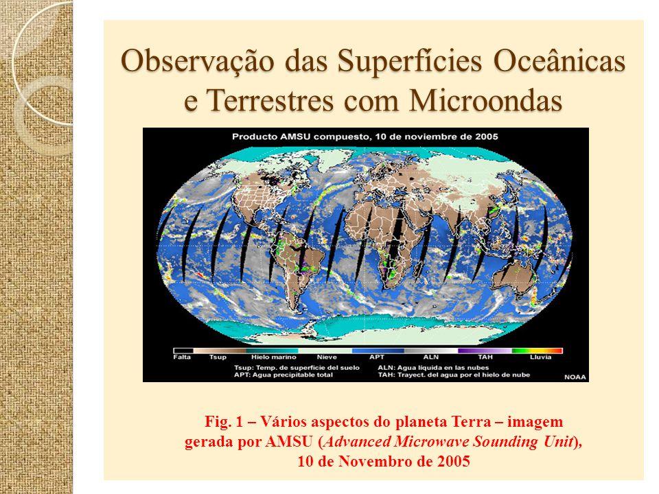 Observação das Superfícies Oceânicas e Terrestres com Microondas Fig. 1 – Vários aspectos do planeta Terra – imagem gerada por AMSU (Advanced Microwav