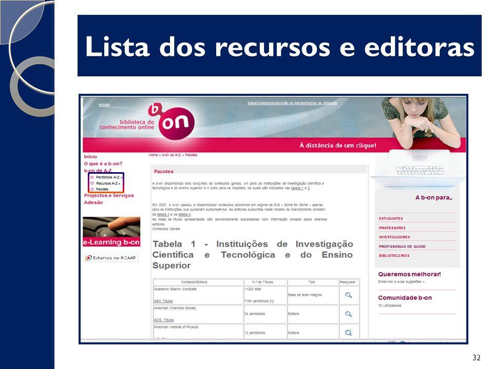 Lista dos recursos e editoras 32