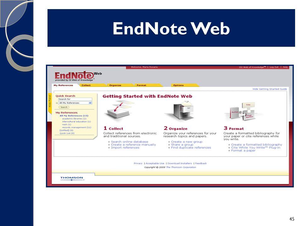 EndNote Web 45