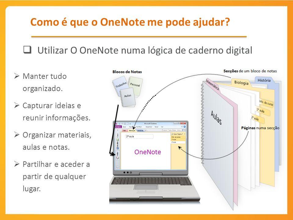 Organizar materiais, aulas e notas Inserir > Ligação Insira hiperligações para sites ou ficheiros.