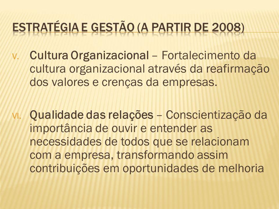 V. Cultura Organizacional – Fortalecimento da cultura organizacional através da reafirmação dos valores e crenças da empresas. VI. Qualidade das relaç