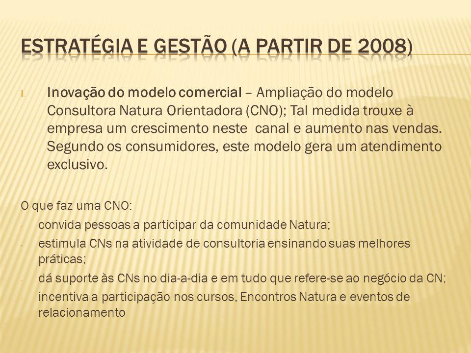 I. Inovação do modelo comercial – Ampliação do modelo Consultora Natura Orientadora (CNO); Tal medida trouxe à empresa um crescimento neste canal e au