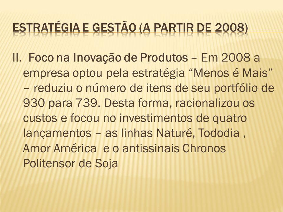 II. Foco na Inovação de Produtos – Em 2008 a empresa optou pela estratégia Menos é Mais – reduziu o número de itens de seu portfólio de 930 para 739.