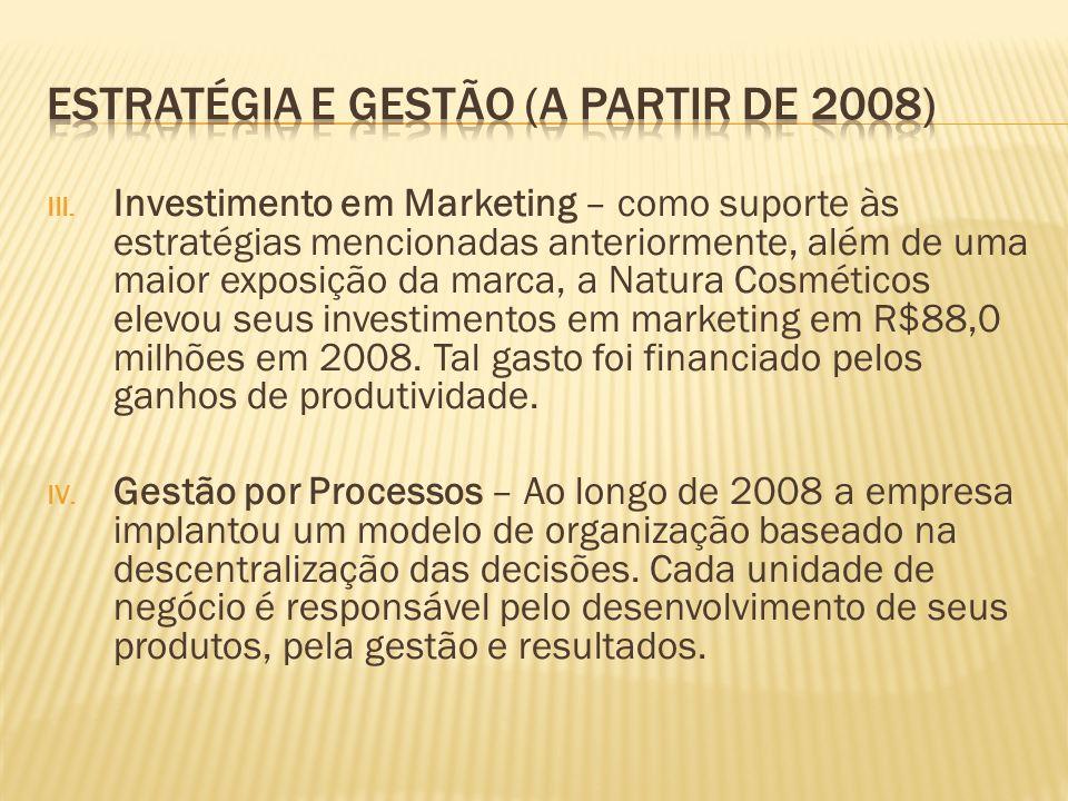 III. Investimento em Marketing – como suporte às estratégias mencionadas anteriormente, além de uma maior exposição da marca, a Natura Cosméticos elev