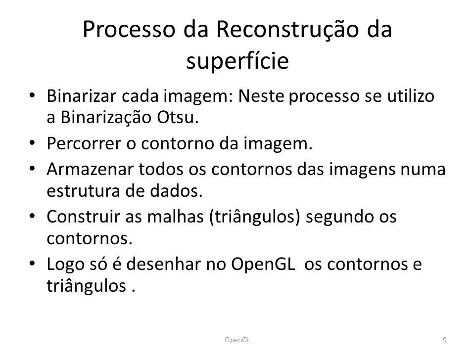 Processo da Reconstrução da superfície Binarizar cada imagem: Neste processo se utilizo a Binarização Otsu.