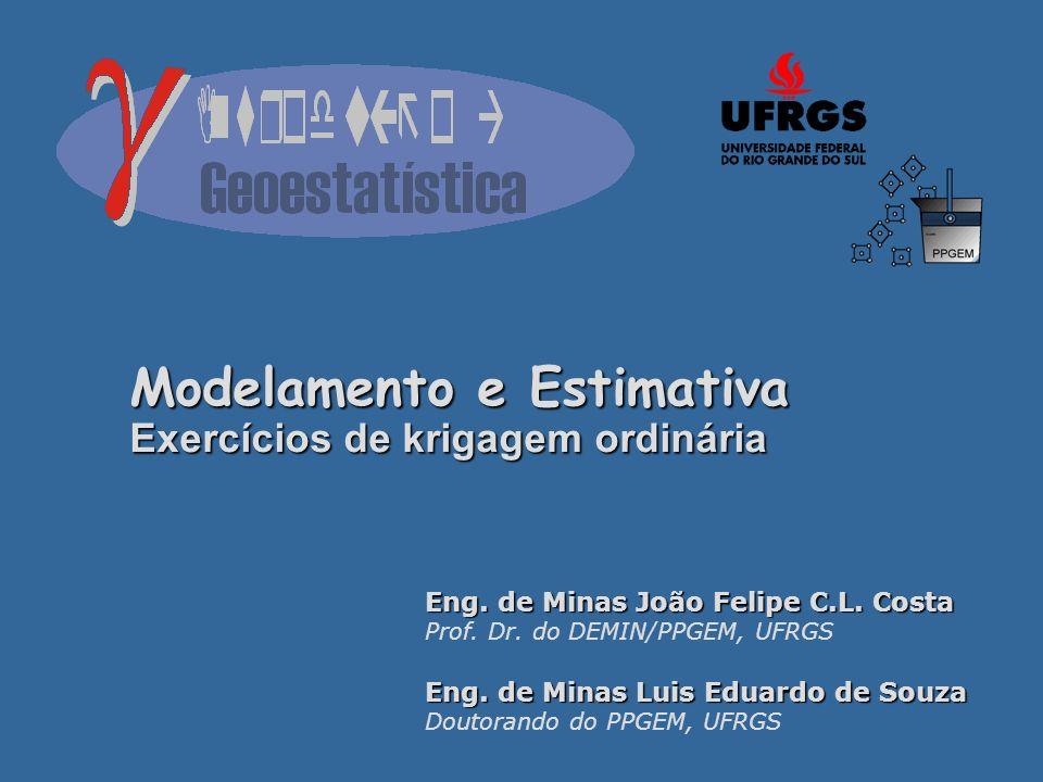 Modelamento e Estimativa Exercícios de krigagem ordinária Eng. de Minas João Felipe C.L. Costa Prof. Dr. do DEMIN/PPGEM, UFRGS Eng. de Minas Luis Edua