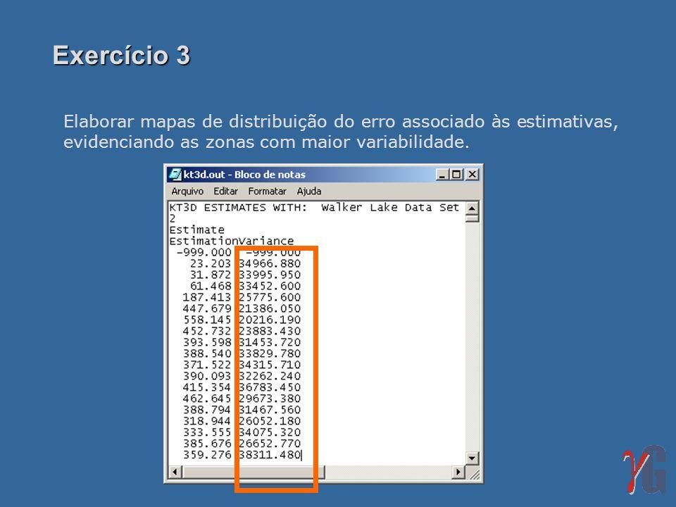Elaborar mapas de distribuição do erro associado às estimativas, evidenciando as zonas com maior variabilidade. Exercício 3