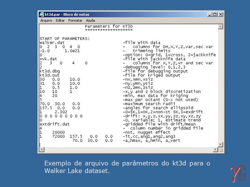 Exemplo de arquivo de parâmetros do kt3d para o Walker Lake dataset.