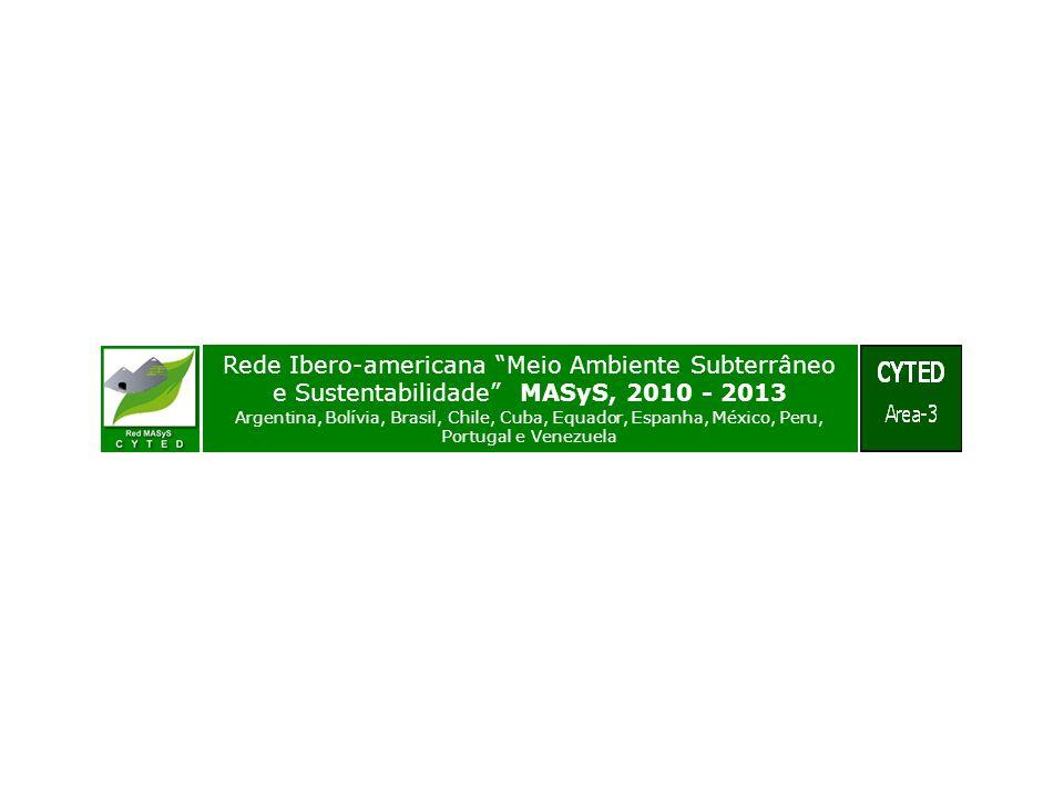 Rede Ibero-americana Meio Ambiente Subterrâneo e Sustentabilidade MASyS, 2010 - 2013 Argentina, Bolívia, Brasil, Chile, Cuba, Equador, Espanha, México, Peru, Portugal e Venezuela