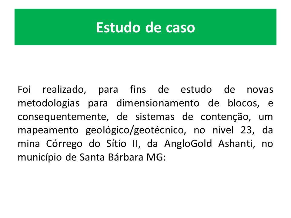 Estudo de caso Foi realizado, para fins de estudo de novas metodologias para dimensionamento de blocos, e consequentemente, de sistemas de contenção, um mapeamento geológico/geotécnico, no nível 23, da mina Córrego do Sítio II, da AngloGold Ashanti, no município de Santa Bárbara MG: